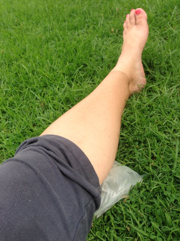 Icing calf after half marathon